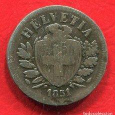 Monedas antiguas de Europa: SUIZA - 2 RAPPEN 1851. Lote 201760270