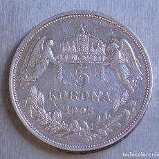 Monedas antiguas de Europa: 5 CORONAS 1908 PLATA HUNGRIA. Lote 148741190