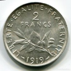 Monedas antiguas de Europa: FRANCIA 2 FRANCOS DE PLATA - 1919 - APROX. S/C. Lote 203614108