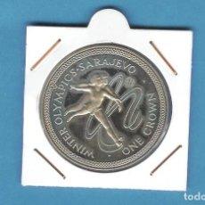 Monedas antiguas de Europa: ISLA DE MAN. CROWN 1984. OLIMPIADA SARAJEVO PATINAJE. Lote 204236135