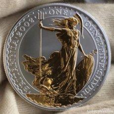 Monedas antiguas de Europa: 1 ONZA DE PLATA GRAN BRETAÑA 2002 DETALLES EN ORO. Lote 205661857