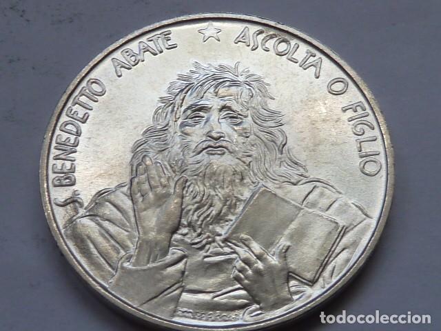 MONEDA D PLATA 1000 LIRAS DE SAN MARINO 1980, NACIMIENTO SAN BENITO, SOLO 125.000, ESCASA (Numismática - Extranjeras - Europa)