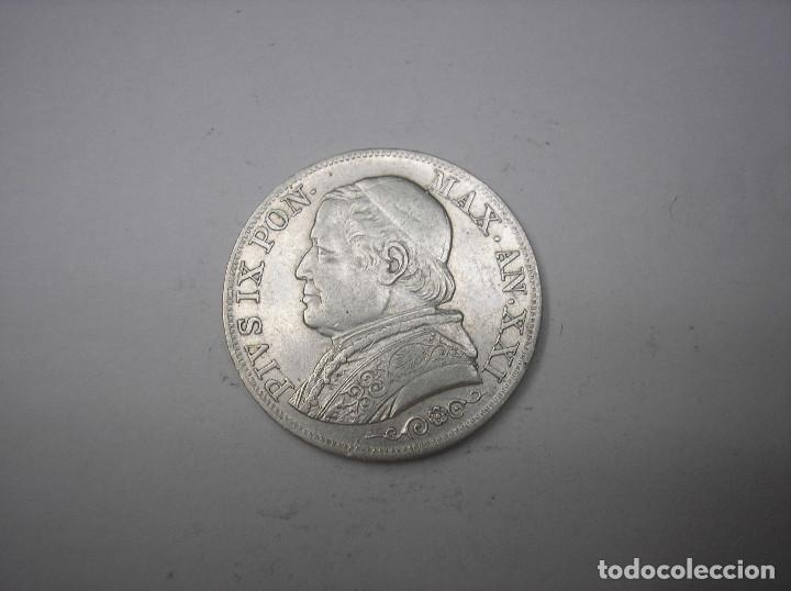 VATICANO , 1 LIRA DE PLATA DE 1867 R. PAPA PIO IX. (Numismática - Extranjeras - Europa)