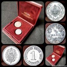 Monedas antiguas de Europa: DIFÍCILES ASÍ. SC Y EBC+. INCLUYE PLATA. 1 PFENNIG 1917A Y 1/2 MARK 1917J EN PRESENTACIÓN DE LUJO. Lote 207083678