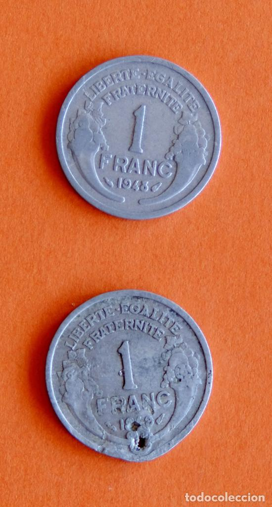 Monedas antiguas de Europa: Lote monedas Francia antes del euro. Dos de 1948 - Foto 2 - 207274933
