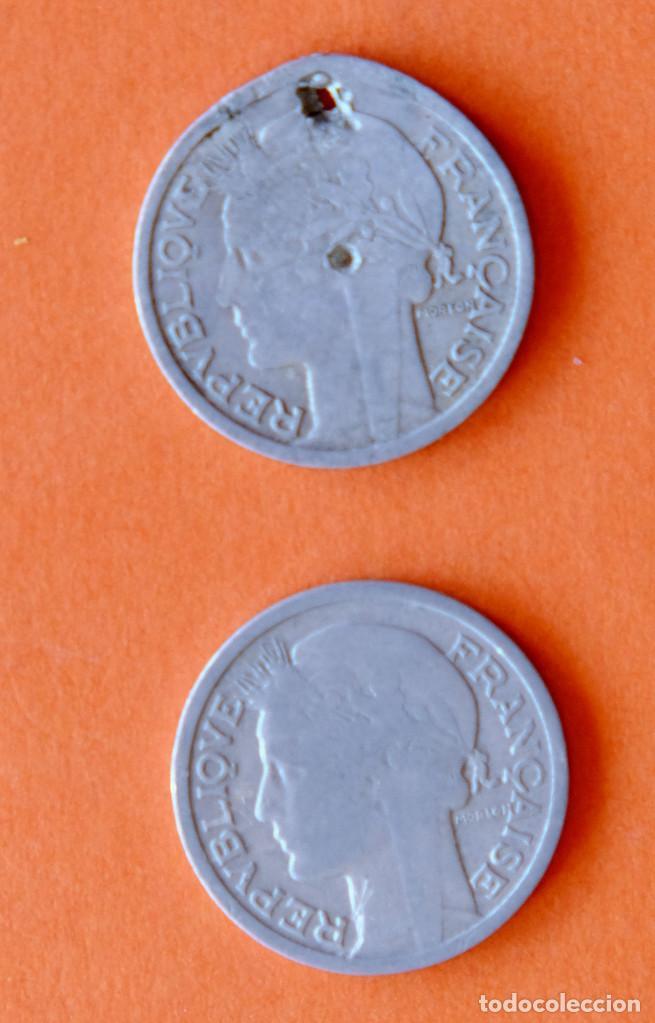 Monedas antiguas de Europa: Lote monedas Francia antes del euro. Dos de 1948 - Foto 3 - 207274933