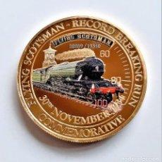 Monedas antiguas de Europa: MONEDA ORO BAÑADA COMMEMORATIVA 1934 FLYING SCOTSMAN RECORD BREAKING RUN - 25.94.GRAMOS 38.MM DIAMTR. Lote 207341683