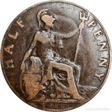 Monedas antiguas de Europa: REINO UNIDO. ½ PENIQUE (HALF PENNY) DE 1918 (JORGE V). (142).. Lote 202801076