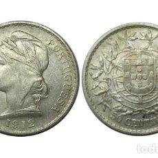 Monedas antiguas de Europa: PORTUGAL 50 CENTAVOS 1912, PLATA, MBC. Lote 209943707