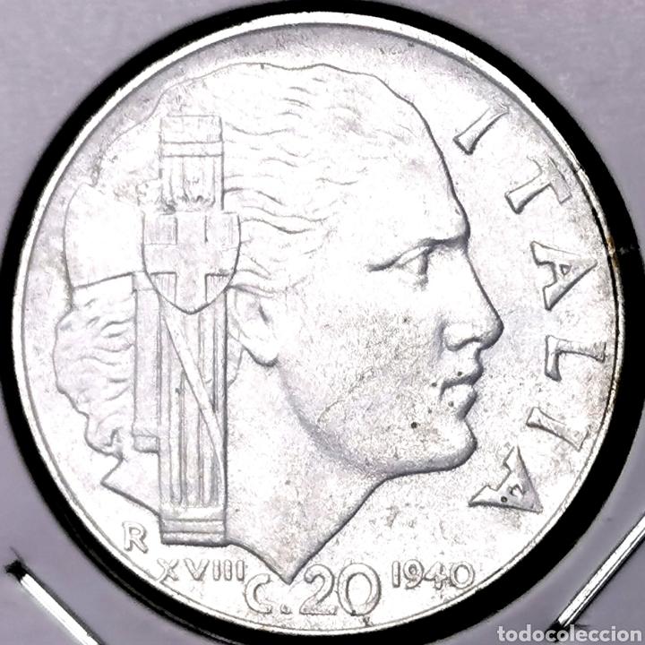 E01. VARIANTE MAGNÉTICA, CANTO ESTRIADO. KM#75B. ITALIA. 20 CENTESIMI 1940 (Numismática - Extranjeras - Europa)