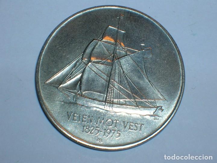 Monedas antiguas de Europa: NORUEGA 5 CORONAS 1975 ANIVERSARIO INMIGRACION (6062) - Foto 2 - 210428917