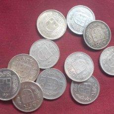 Monedas antiguas de Europa: SUIZA. 11 MONEDAS DE 5 FRANCOS DE PLATA. ANTIGUAS. Lote 210963895