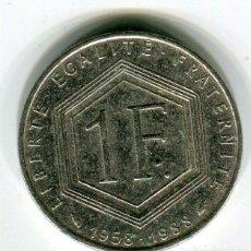 Monedas antiguas de Europa: FRANCIA 1 (UN) FRANCO CHARLES DE GAULLE 1958 / 1988. Lote 210963962