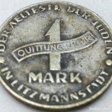 Monedas antiguas de Europa: RÉPLICA MONEDA 1943. 1 MARK. JUDÍA, GETTO DE LODZ, LITZMANNSTADT, POLONIA. RARA. II GUERRA MUNDIAL.. Lote 211724741