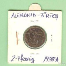 Monedas antiguas de Europa: ALEMANIA. 3º REICH. 2 PFENNIG 1938-A. BRONCE. KM#40. Lote 211838700