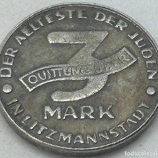 Monedas antiguas de Europa: RÉPLICA MONEDA 1943. 3 MARK. JUDÍA, GETTO DE LODZ, LITZMANNSTADT, POLONIA. RARA. II GUERRA MUNDIAL.. Lote 214556856