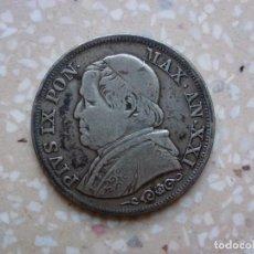 Monedas antiguas de Europa: MONEDA LIRA 1866 PAPA PIO IX -PLATA MBC. Lote 215930402