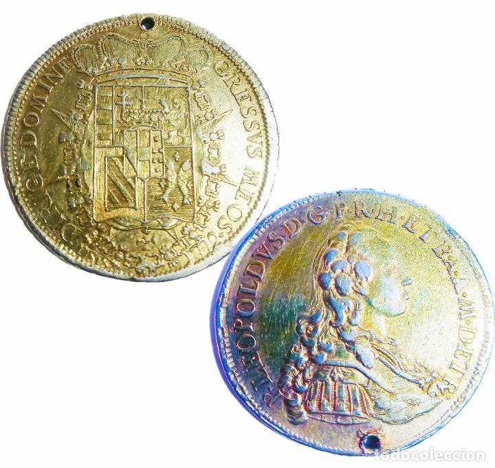 MONEDA DE PLATA CON BAÑO DE ORO. P LEOPOLDUS...ETRUR DIRIGE DOMINE GRESSVS MEOS. 1772. RARA. (Numismática - Extranjeras - Europa)