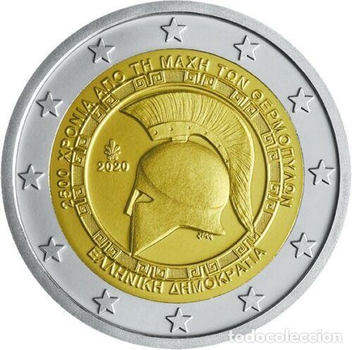 GRECIA 2 EURO 2020 S/C 2500 AÑOS DE LA BATALLA DE TERMÓPILAS (Numismática - Extranjeras - Europa)