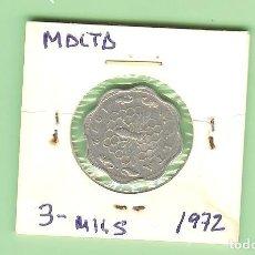 Monedas antiguas de Europa: MALTA. 3 MILS 1972. ALUMINIO. KM#6. Lote 218674665