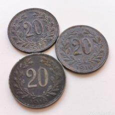 Monedas antiguas de Europa: A35. AUSTRIA. SERIE COMPLETA 20 HELLER 1916/1918. Lote 219078816