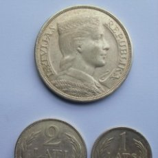 Monedas antiguas de Europa: LETONIA (LATVIA) 5 LATI 1929, 2 LATI 1926, 1 LATS 1924; PLATA - SILVER. Lote 194126727