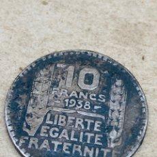Monedas antiguas de Europa: MONEDA DE PLATA 10 FRANCS 1938. Lote 220962287