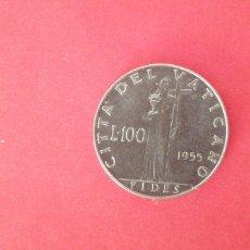 Moedas antigas da Europa: 100 LIRAS DEL VATICANO 1955. Lote 221105335