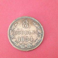 Monedas antiguas de Europa: 8 DOUBLES DE GUERNSEY 1834. Lote 221106480