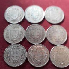 Suiza. 9 monedas de 5 francos suizos de plata