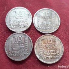 Francia. 4 monedas de 10 francos de plata