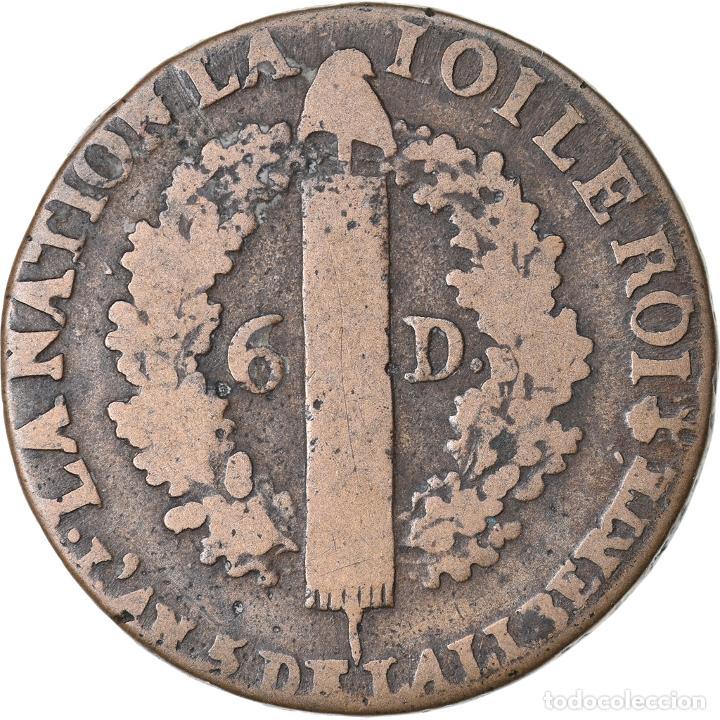 Monedas antiguas de Europa: Moneda, Francia, 6 deniers françois, 6 Deniers, 1793, Nantes, BC+, Bronce - Foto 2 - 221878950