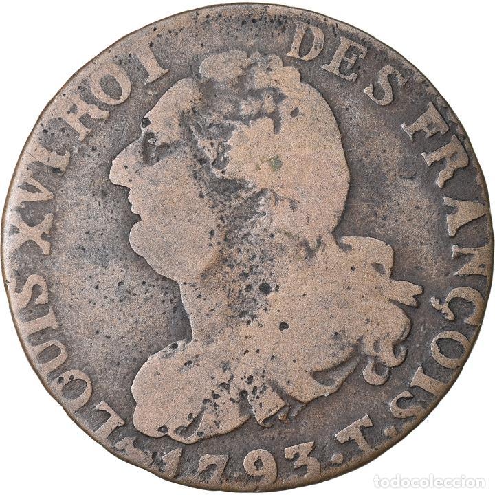 MONEDA, FRANCIA, 6 DENIERS FRANÇOIS, 6 DENIERS, 1793, NANTES, BC+, BRONCE (Numismática - Extranjeras - Europa)