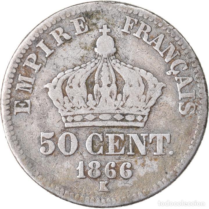 Monedas antiguas de Europa: Moneda, Francia, Napoleon III, Napoléon III, 50 Centimes, 1866, Bordeaux, BC+ - Foto 2 - 221882916