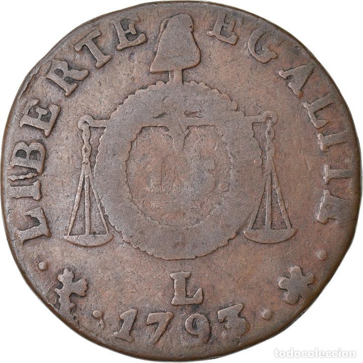 Monedas antiguas de Europa: Moneda, Francia, Sol aux balances françoise, 1793, Bayonne, BC, Bronce - Foto 2 - 221883081