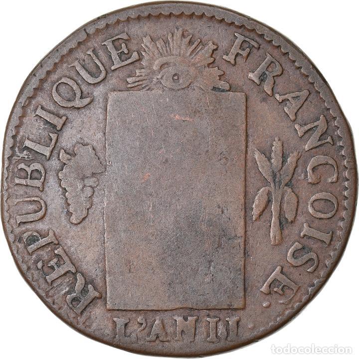 MONEDA, FRANCIA, SOL AUX BALANCES FRANÇOISE, 1793, BAYONNE, BC, BRONCE (Numismática - Extranjeras - Europa)