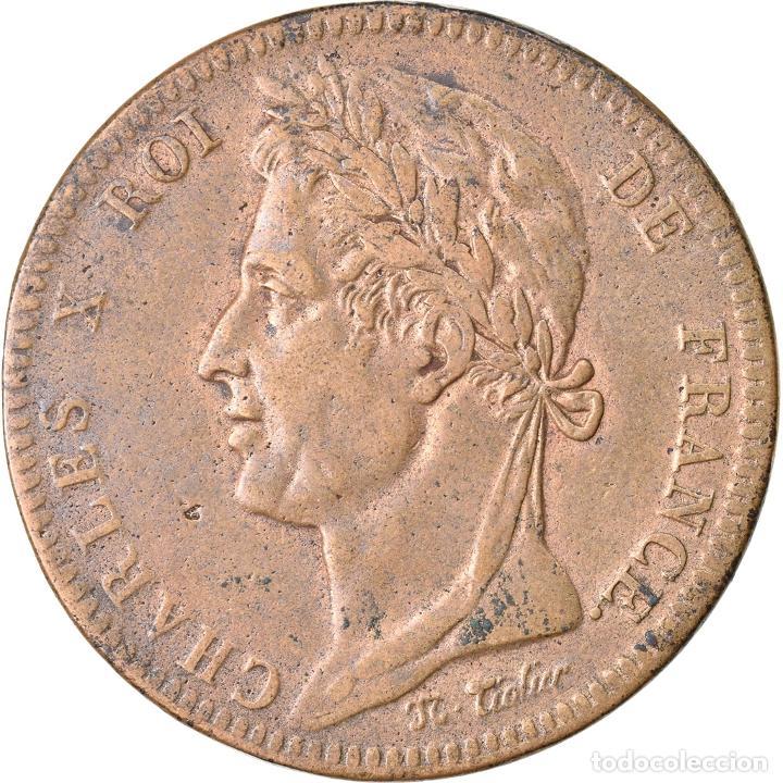 MONEDA, COLONIAS FRANCESAS, CHARLES X, 10 CENTIMES, 1825, PARIS, MBC, BRONCE (Numismática - Extranjeras - Europa)