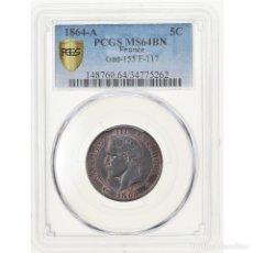 Monedas antiguas de Europa: MONEDA, FRANCIA, NAPOLEON III, NAPOLÉON III, 5 CENTIMES, 1864, PARIS, PCGS. Lote 221948723
