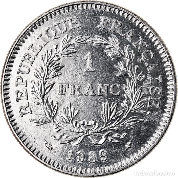 Monedas antiguas de Europa: Moneda, Francia, 1 Franc, 1989, MBC+, Níquel, KM:967, Gadoury:477 - Foto 2 - 221980322