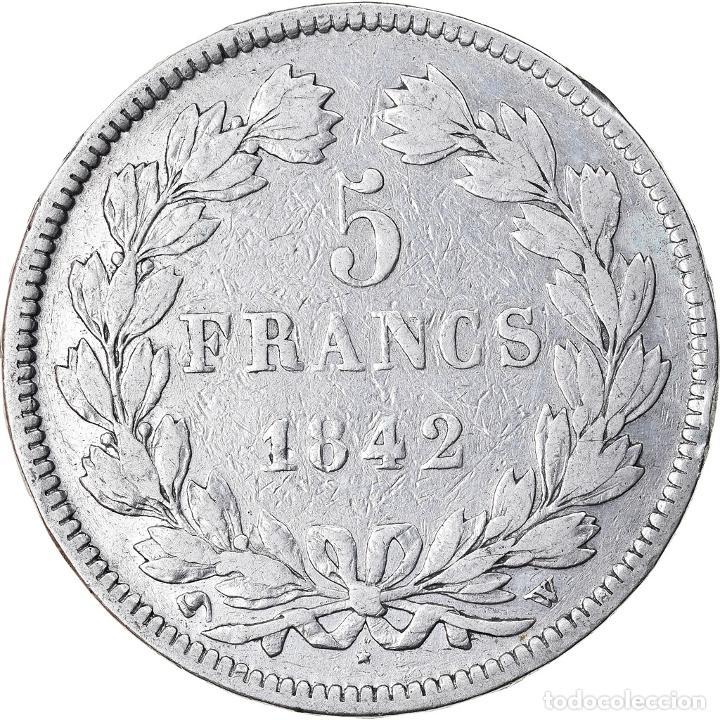 Monedas antiguas de Europa: Moneda, Francia, Louis-Philippe, 5 Francs, 1842, Lille, BC+, Plata, KM:749.13 - Foto 2 - 221980483
