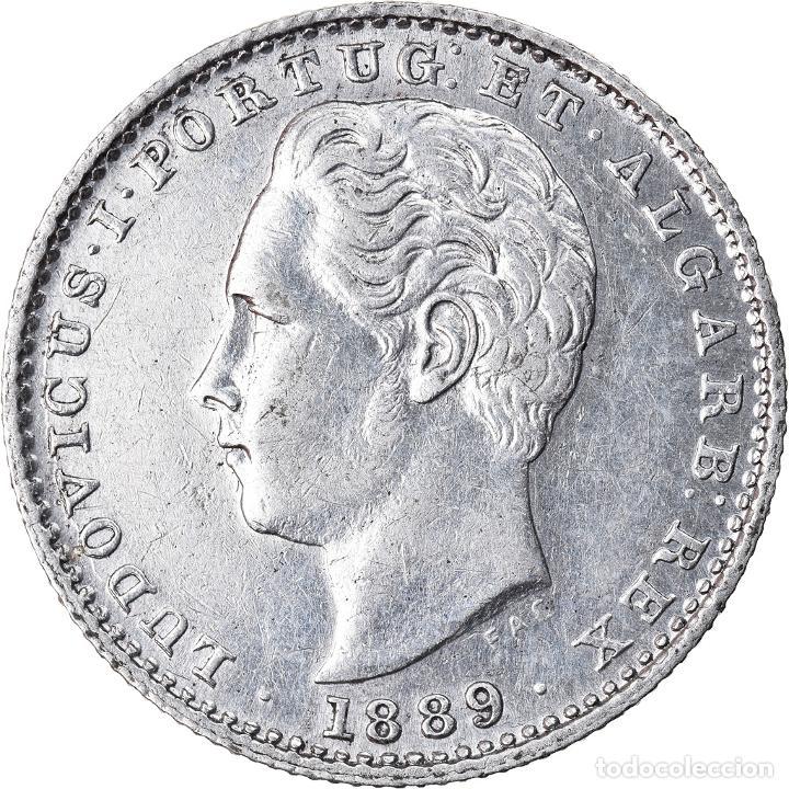 MONEDA, PORTUGAL, LUIZ I, 100 REIS, 1889, MBC+, PLATA, KM:510 (Numismática - Extranjeras - Europa)