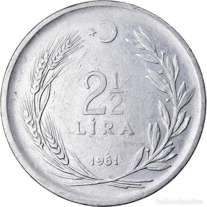 Monedas antiguas de Europa: Moneda, Turquía, 2-1/2 Lira, 1961, MBC, Acero inoxidable, KM:893.1 - Foto 2 - 221980561