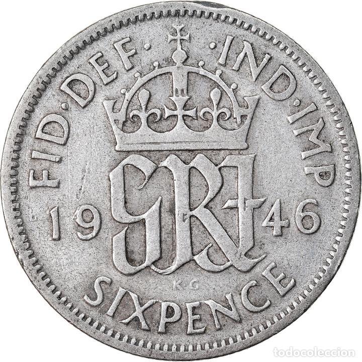 Monedas antiguas de Europa: Moneda, Gran Bretaña, George VI, 6 Pence, 1946, BC+, Plata, KM:852 - Foto 2 - 221980588