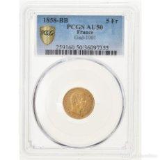 Monedas antiguas de Europa: MONEDA, FRANCIA, NAPOLEON III, NAPOLÉON III, 5 FRANCS, 1858, STRASBOURG, PCGS. Lote 221986200