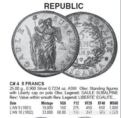 Monedas antiguas de Europa: Italia - Galia Subalpine - 5 francs An 9 1801/1802 - Foto 3 - 222535158
