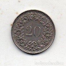 Monedas antiguas de Europa: SUIZA. 20 CÉNTIMOS. AÑO 1943. Lote 222586876