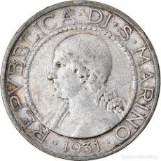 Monedas antiguas de Europa: MONEDA, SAN MARINO, 5 LIRE, 1931, ROME, MBC, PLATA, KM:9. Lote 222744357