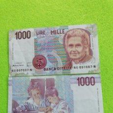 Monedas antiguas de Europa: 2 BILLETES DE 1000 LIRAS ITALIANAS DE 1990 EN BUEN ESTADO DE CONSERVACIÓN. Lote 223101452