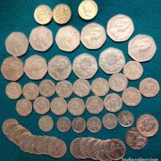Monedas antiguas de Europa: LOTE DE 55 MONEDAS BRITÁNICAS: ONE POUND; 50 PENCE; 20 PENCE; 10 PENCE; 5 PENCE; SIX PENCE. Lote 223143252