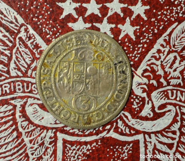 Monedas antiguas de Europa: 3 Kreuzer 1680 Salzburg, Erzbistum Max Gandolph von Küenburg 1668-1687 - Foto 2 - 223317092